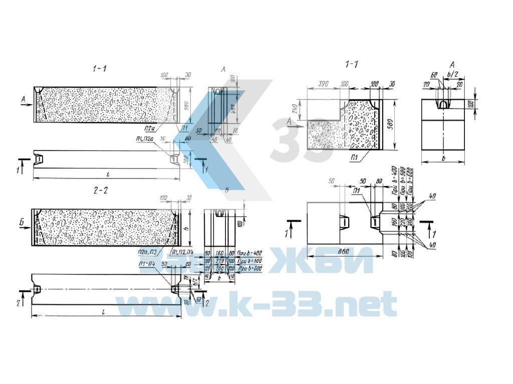 Фундаментный блок железобетонный ФБС9.3.6-Т - чертеж