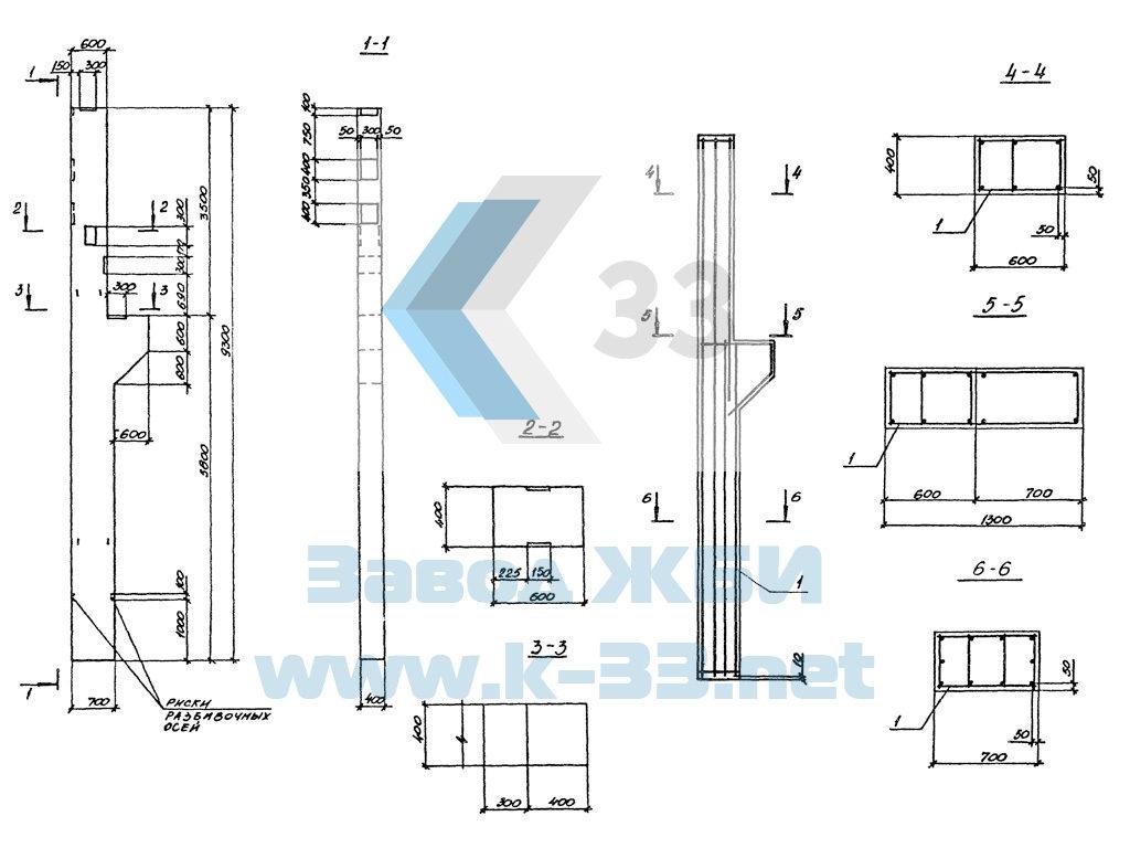 Железобетонные колонны, траверсы, плиты фундамента, подколонники. Серия 3.016.1-11 в. 1
