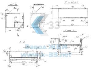 Железобетонные опоры неподвижные щитовые, лотки, лотки угловые, плиты, опоры. Серия 3.903 КЛ-14 в. 1-1