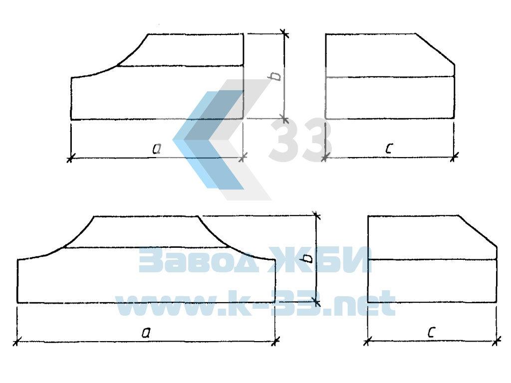 Лекальный блок Ф1п.л-30-90 - чертеж