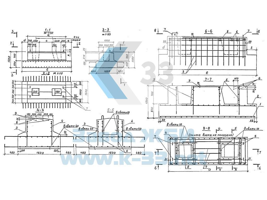 Фундаментные блоки устоев промежуточных опор под пролетные строения автодорожных мостов. Серия 3.503.1-57 в. 1