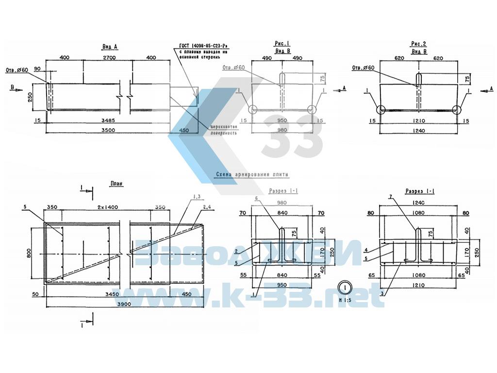 Плита переходная железобетонная ПК800.98.40-ТА II (А III)-75° - фото