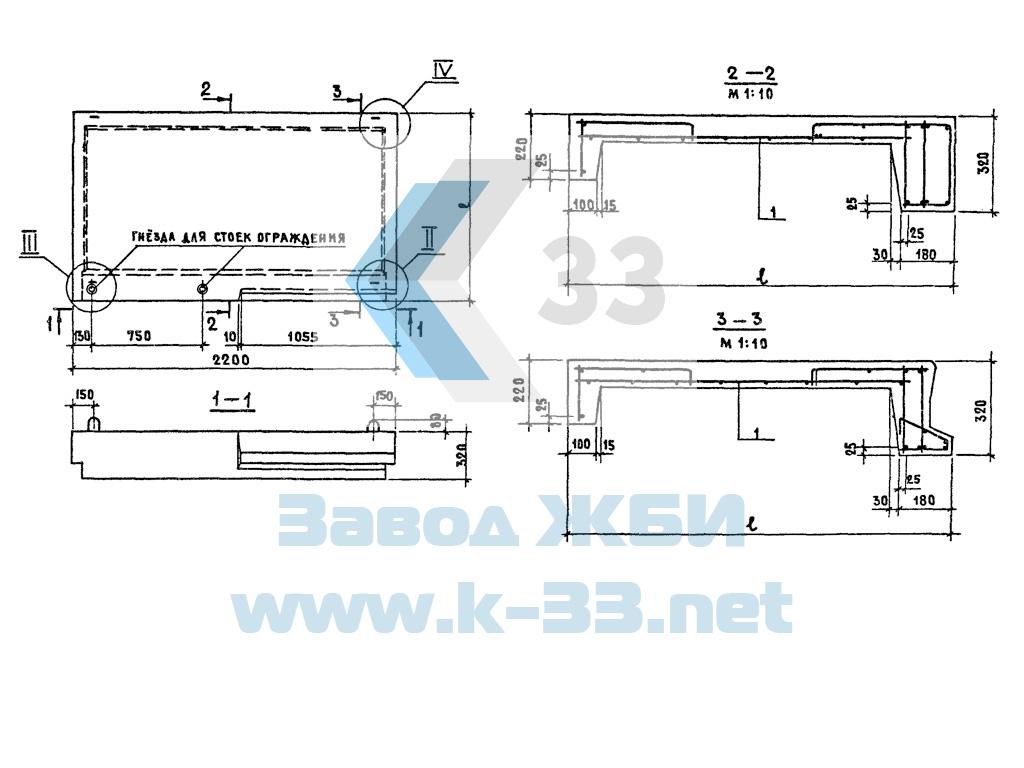 Лестничная площадка ребристая железобетонная 2ЛП22.15В-4П - фото