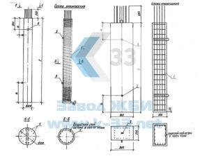 Блоки ригелей и стоек для опор автодорожных мостов для северных условий. Серия 3.503.1-100 в. 3
