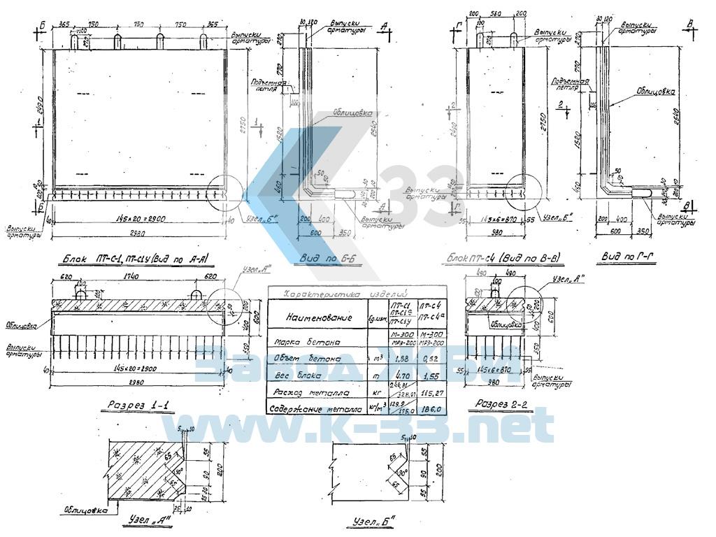 Стеновые блоки железобетонные без обл. ПТ-С1а - фото
