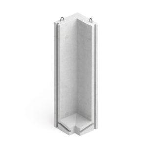 Коллекторный стеновой угловой блок железобетонный КУ-36