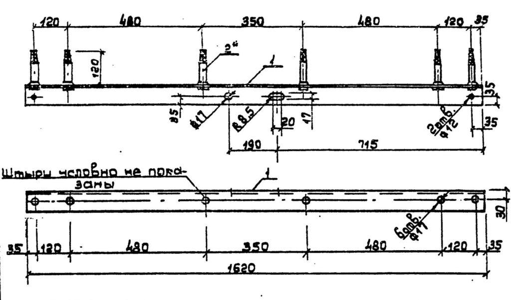 Траверсы низковольтные ТН-14 - чертеж